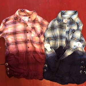 Bundle of two justice button down shirts NWT 12